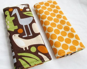 Reversible Car Seat Strap Covers - 2D Zoo in Chocolate with Tangerine Full moon Dots