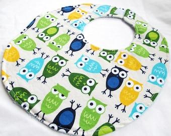 Baby Boy Bib or Toddler Boy Bib - Owls in Blue - cotton bib with terry cloth backing