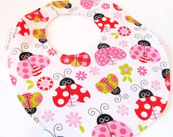 Baby Girl Bib - Ladybug Garden - cotton bib with terry cloth backing