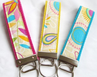 Wristlet Key Fob Key Chain in Tropical Floral - Your choice of 4 webbing colors