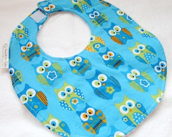 Baby Boy Bib or Toddler Boy Bib - Bright Owls on Turquoise - cotton bib with terry cloth backing - ONLY 2 LEFT