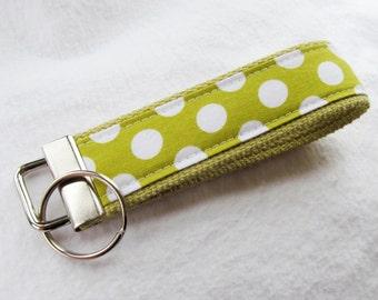 Wristlet Key Fob Key Chain in Ta Dot in Celery - Fabric Keychain