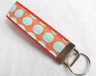 KeyFob Key Chain Wristlet in Amy Butler Sunspots in Tangerine - Fabric Keychain