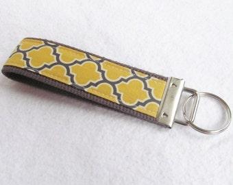 Wristlet Key Fob Key Chain in Aviary II - Lattice in Vintage Yellow on Charcoal Webbing