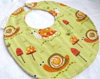 Baby Boy Bib - Snails on Green - Boutique Bib for Baby or Toddler with Terry Cloth Backing