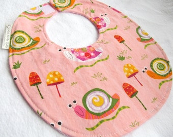 Baby Girl Bib - Snails on Pink - Boutique Bib for Baby or Toddler with Terry Cloth Backing