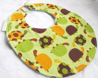 Baby Boy Bib -Turtles in Bermuda  - Cotton bib with light blue terry cloth backing and snagfree velcro closure