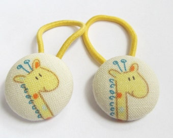 Ponytail holders - Sweet Giraffes - fabric covered button hair ties