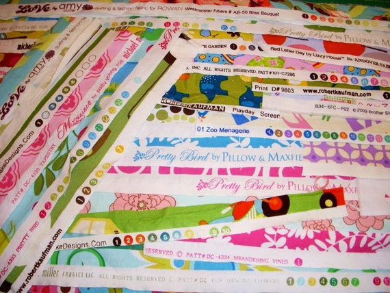 Selvage Super Pack - Designer fabric selvages scrap pack for quilting and sewing