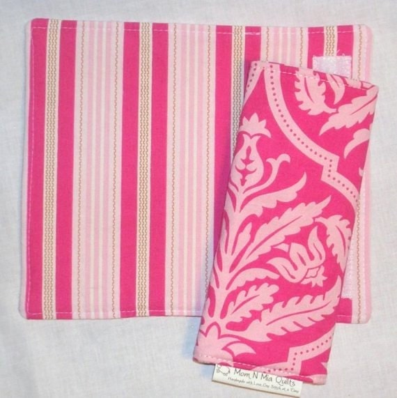 Reversible Car Seat Strap Covers - Seatbelt Covers - Pink Damask & Stripe - limited availability