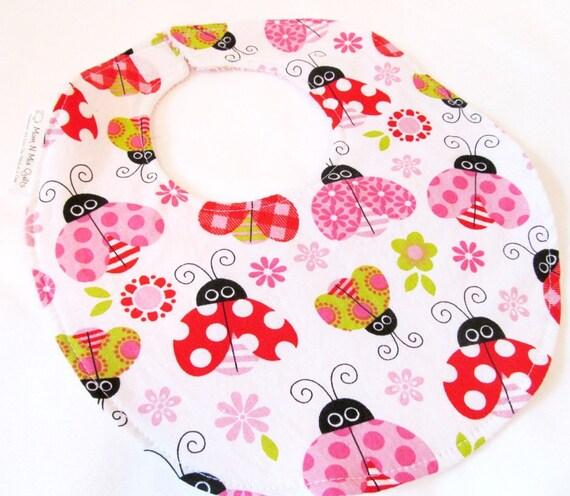 Baby Girl Bib - Ladybug Garden - cotton bib with terry cloth backing
