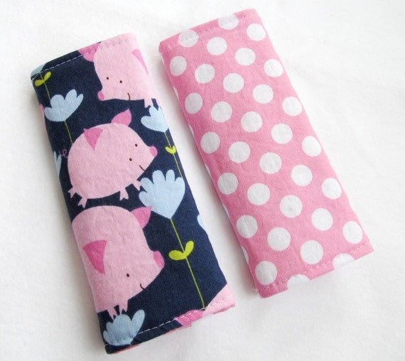 Reversible Car Seat Strap Covers - Pink Pigs and Polka Dots - Seatbelt strap covers for baby, infant and adult