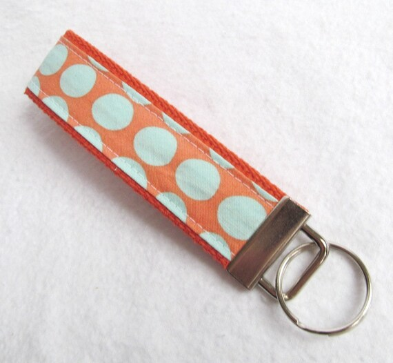 KeyFob Key Chain Wristlet in Amy Butler Sunspots in Tangerine - Fabric Keychain