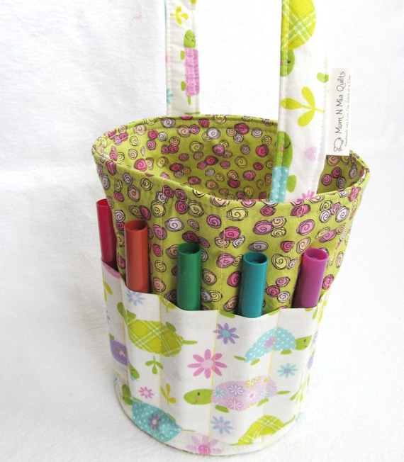 Creative Kids Art Bucket - Pastel Calico Turtles - Sweet and Colorful Fabric Basket Organizer - LAST ONE Ready to Ship