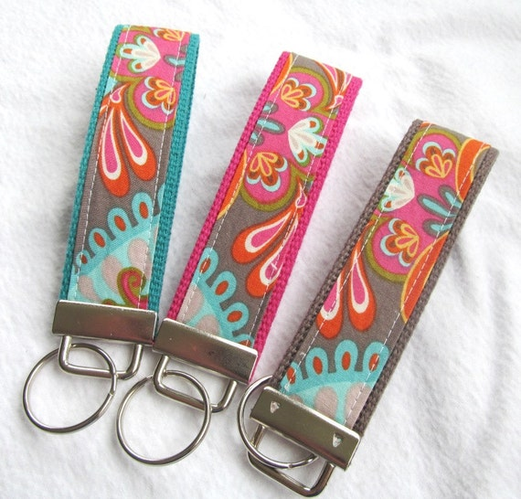 Keychain Wristlet Key fob - Cabana Blooms Paisley Damask in Gray - Choose Fuschia, Dark Teal or Charcoal Webbing