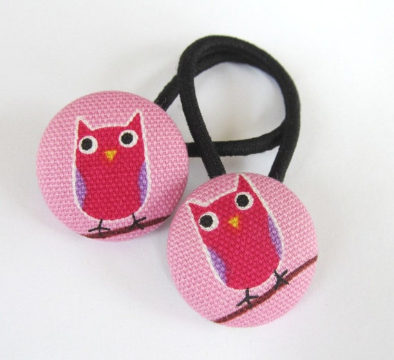 Ponytail holders - fabric covered button hair ties - Fuschia Owls on Pink - OOAK