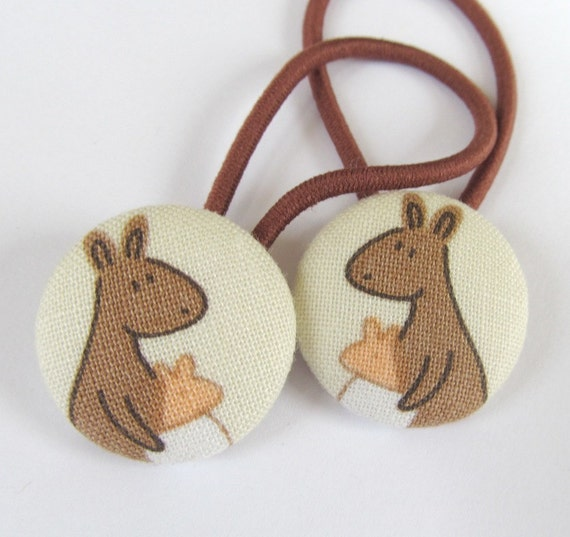 Ponytail holders - Kangaroos - fabric covered button hair ties