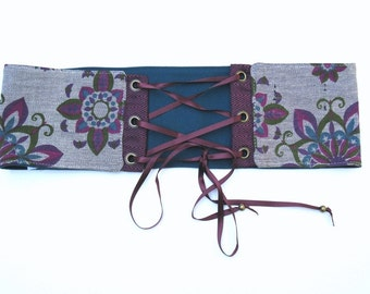 Retro Grey Purple Turqouise Reversible Corset Belt
