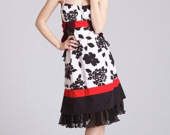 Garden Party Dress Mod Floral Prom Wedding Red, White, Black Spring Coctail Dress