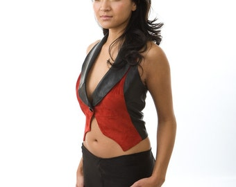 Manifest Vest red black recycled leather eco small