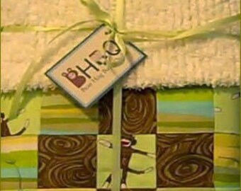 Moda Sock Monkey Tiny Charmer in Green with Cream Chenille Back Baby Crib Quilt Blanket
