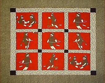 Monkey N Round Bassinet / Stroller Quilt for Baby Boy or Girl in Red