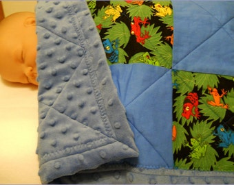 Tree Frog Baby Quilt, Boy, Cotton, Minky, Baby Shower Gift, Bassinet, Stroller, Car Seat, Toddler Security Blanket, Blue, nursery bedding
