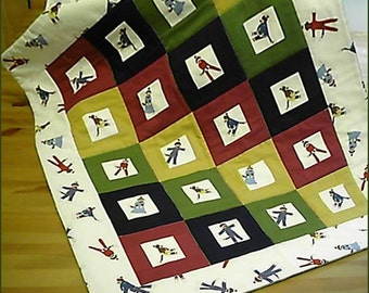 Goodnight Monkey in Warm Heritage Color Blocks Bassinet Stroller Baby Quilt