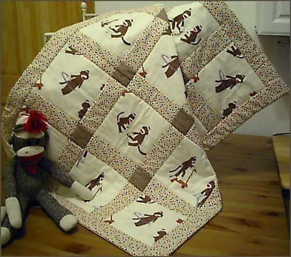 new Crib Size MODA SOCK MONKEY Baby Quilt Blanket