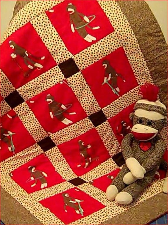 Monkey n Round Crib Quilt for baby boy or girl in Red