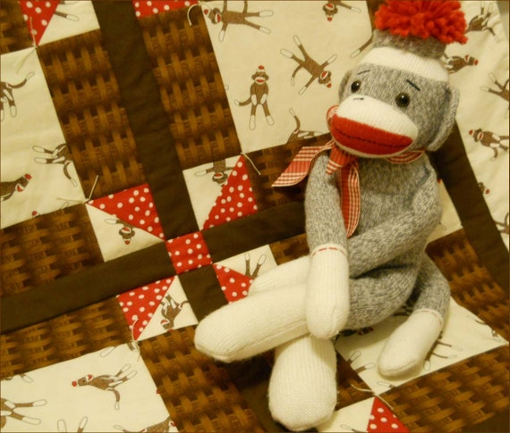 Funky Monkey Sock Monkey in Natural and  Brown Weave with Polka Dot Red Pinwheels