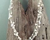 SALE--Multi Strand Pearl and Silk Necklace
