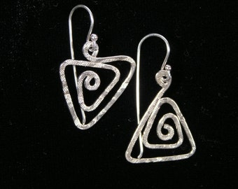 Spiral Geometry Triangle Earrings, Sterling Silver, Hand made, Asymmetrical, Fraternal Twins