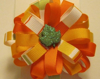 Girls Fall/Thanksgiving pinwheel bow french barrette clip - single