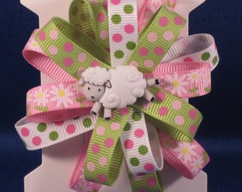 Girls - Pinwheel bow french barrette clip with Lamb buttons - single