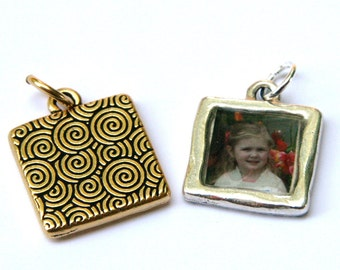 Custom Photo Pendant - Swirls - In Gold or Silver