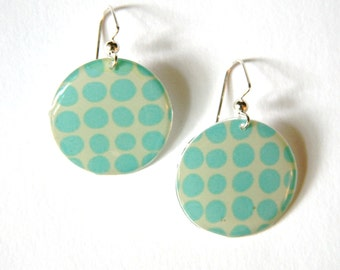 Polka Dot Earrings in Light Blue and Pale Yellow- Medium Resin Earrings with Silver Ear Wires