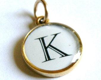 "Letter Charm Pendant - Gold or Silver Metal Setting - Any Letter - ""K"" Letter"