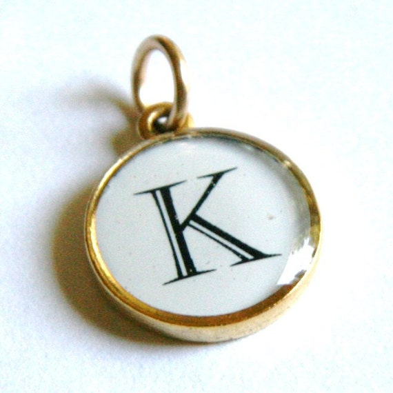 "Letter Charm Pendant - Gold or Silver Metal Setting - Any Letter - ""K"" Letter"