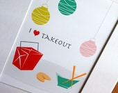 Matted art print... I heart takeout