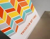Thinking of You- grey and orange pattern, single card