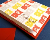 Owls thank you cards in orange, set of 6