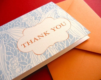 Thank You- in orange, set of 6