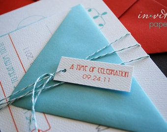 TWINE COLLECTION- A Time of Celebration, in orange- invitation