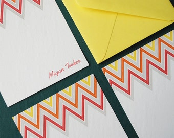 Zig Zag in yellow- personalized stationery, set of 8