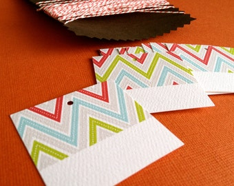 Zig Zag Holiday gift tags- set of 10, with twine