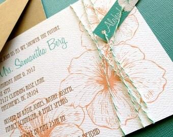 Vintage Hawaiian invitation, coral and teal, set of 10