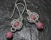 Sterling Silver Romanov Chainmaille and Pink Rhodonite Earrings