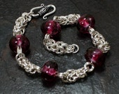 Sterling Silver Byzantine Chainmaille Bracelet with Purple Lampwork Art Glass Beads
