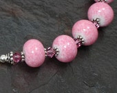 Perfectly Pink Art Glass, Crystal, and Sterling SIlver Necklace